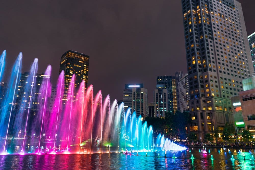 Water Fountain Show in front of the Twin Towers @shutterstock