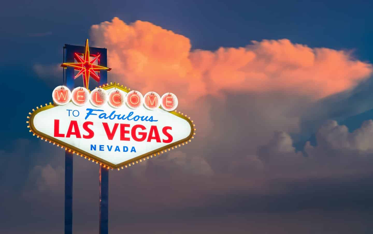 The Welcome to Fabulous Las Vegas sign in Las Vegas, Nevada USA sunset