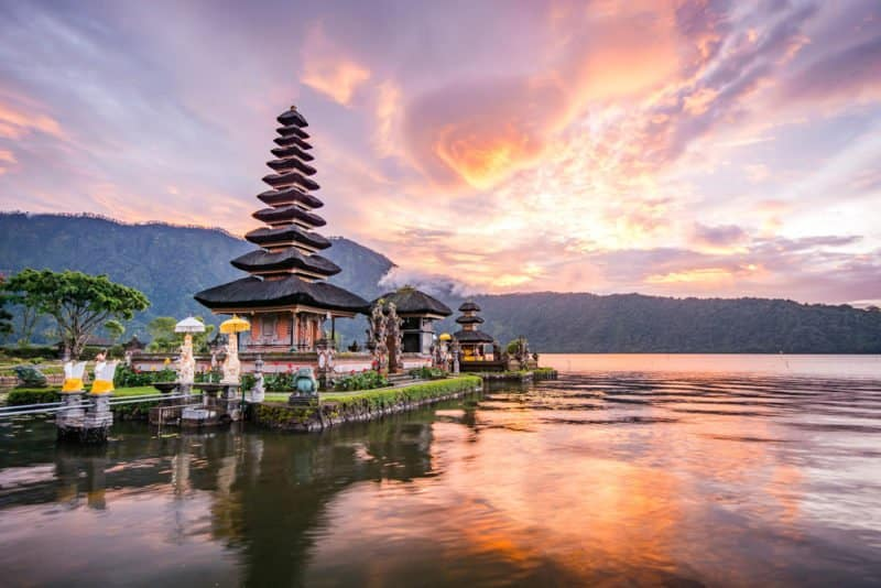 Pure Ulun Danu Bratan, Hindu temple on Bratan lake landscape, Indonesia