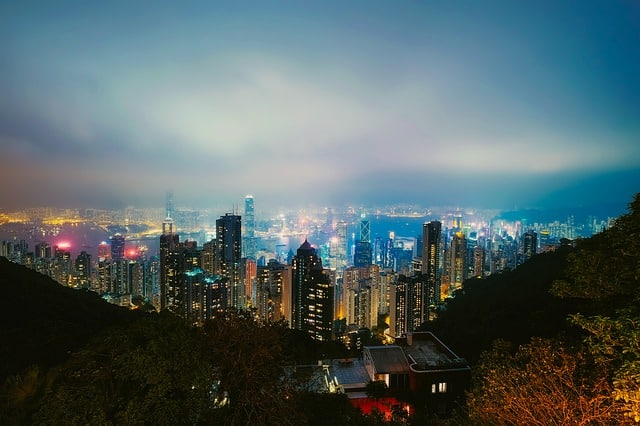 Hong Kong Victoria Peak at night