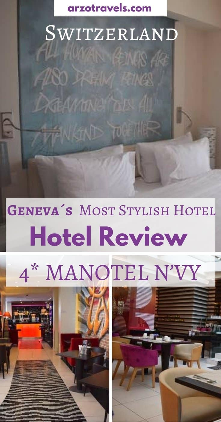 HOTEL MANOTEL N'VY GENEVA in Switzerland. The most fun and colorful 4* hotel I have been to - just a stone throw from Lake Geneva.