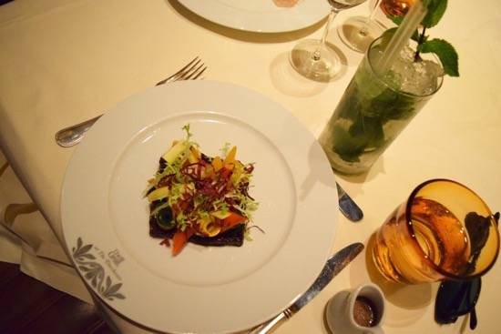 Grilled vegetable salad and confit red onion, balsamic dressing