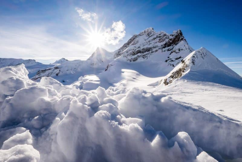 The Alps mountains Mt. Monch and Mt. Jungfrau from the view of Jungfraujoch station, Switzerland. @shutterstock