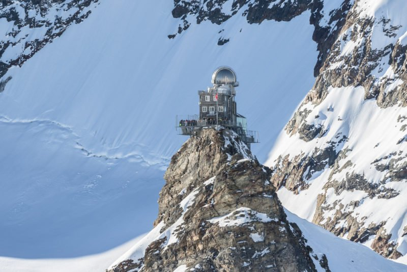 View of the Sphinx Observatory on Jungfraujoch, one of the highest observatories in the world located at the Jungfrau railway station, Bernese Overland, Switzerland. @shutterstock