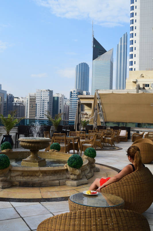 Outdoor seating at Millennium Corniche Abu Dhabi