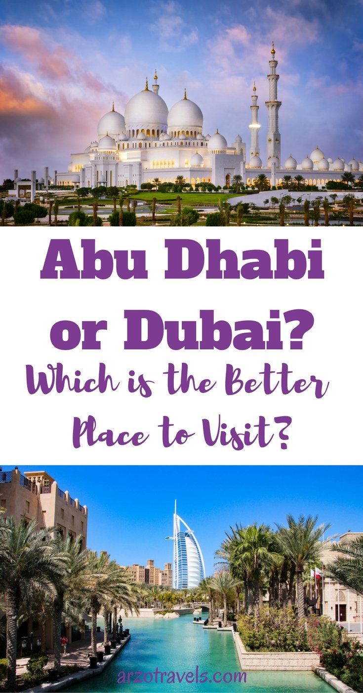 Abu Dhabi or Dubai? Which is the better city to visit? Find out which is the perfect destination for you. United Arab Emirates.