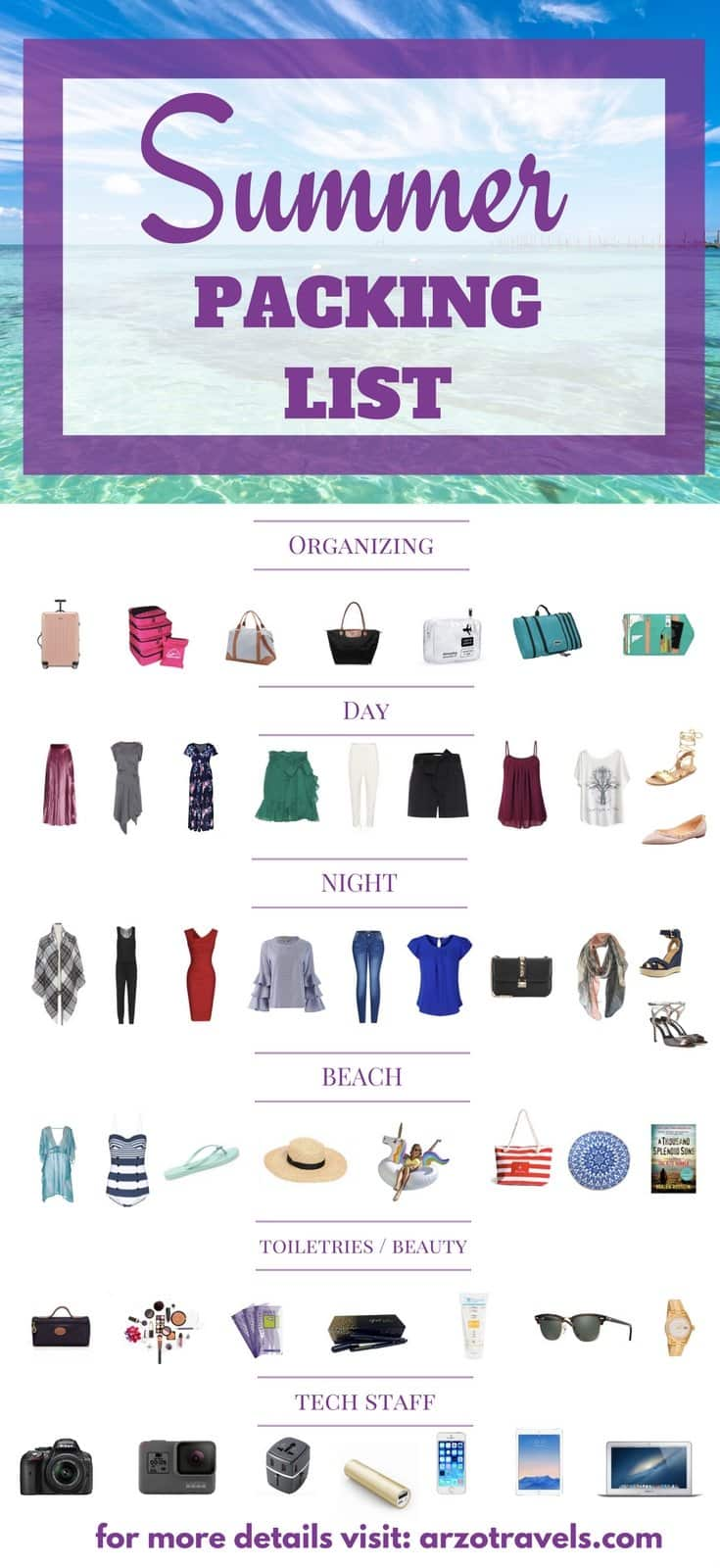 Summer Packing List. What to pack for your next summer trip - a comprehensive list.