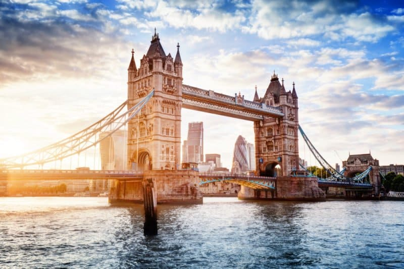 Tower Bridge in London, the UK. @shutterstock