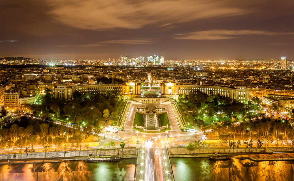 The Palais de Chaillot, the Trocadero and La Defense as seen from Eiffel Tower. Paris, France