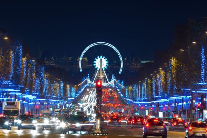 Stroll along the Champs Élysées at night