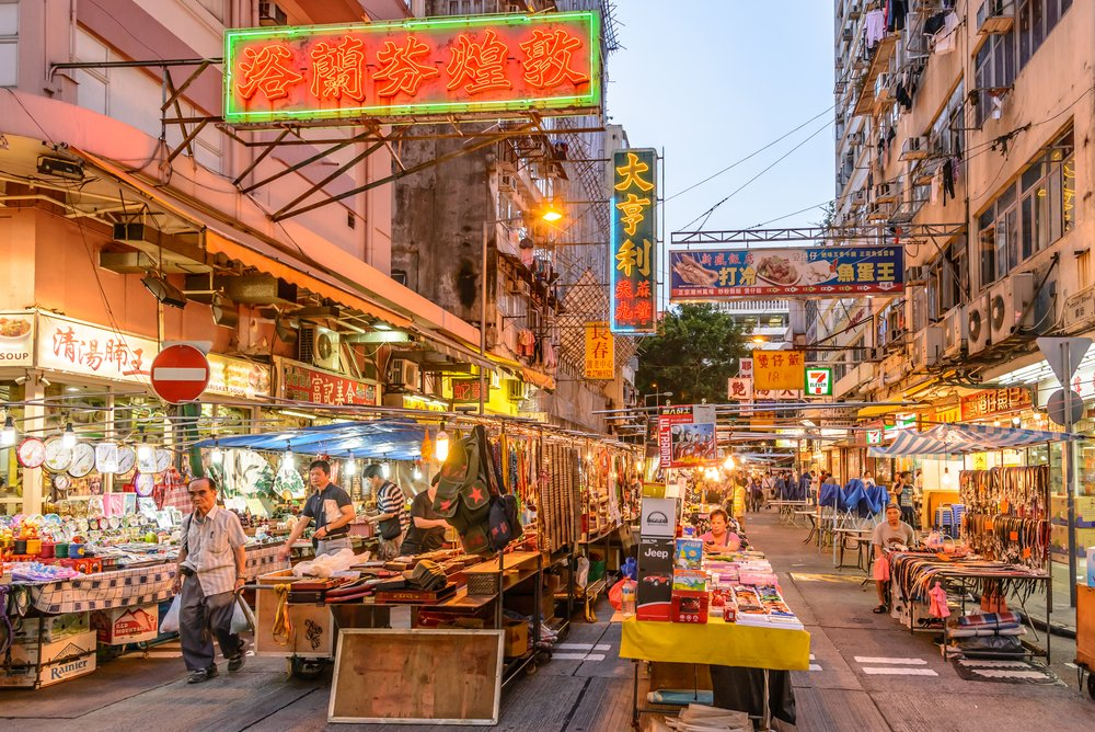 Temple Street: It is known for its night market and one of the busiest flea markets at night