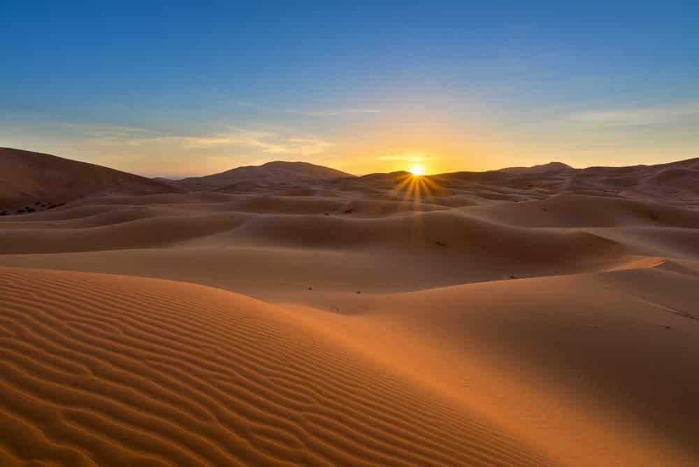 View of Erg Chebbi Dunes - Sahara Desert - at sunrise, in Morocco