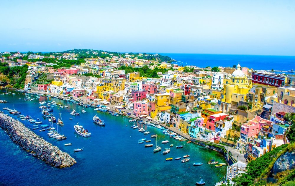 italian island procida is famous for its colorful marina, Italy