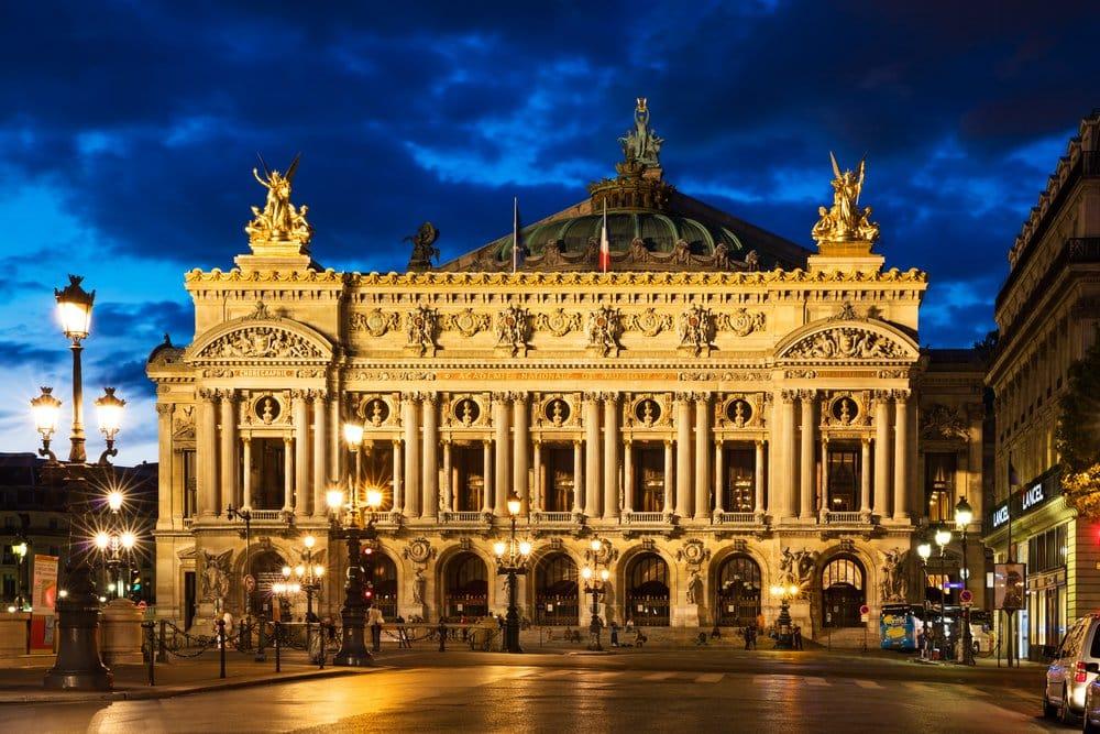 Night front view of the Opera National de Paris. Grand Opera (Opera Garnier)
