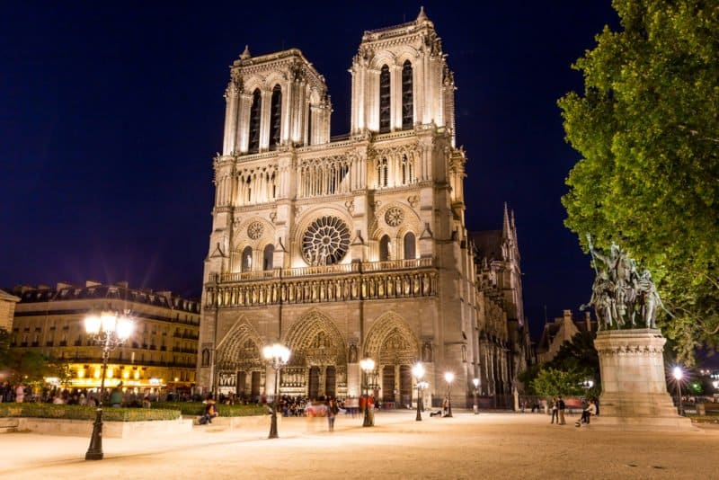 The World Famous Notre Dame Looks Pretty at Night as Well