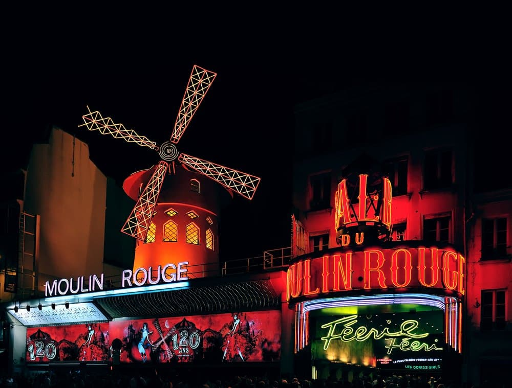 Moulin Rouge in Montmartre at night