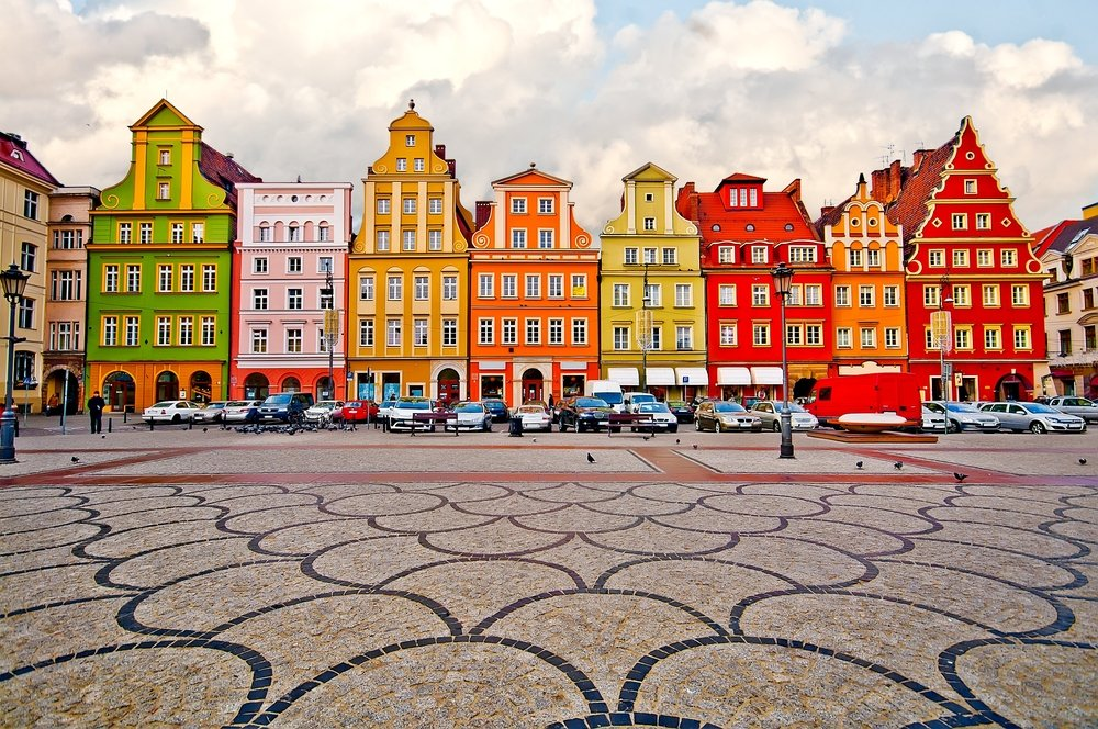 City centre, Market square tenements, Wroclaw Polan
