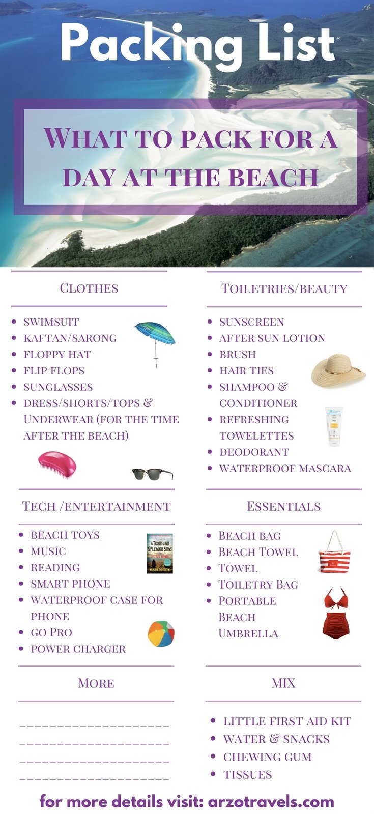 What to pack for a day at the beach. Travel tips for a perfect day at the beach.