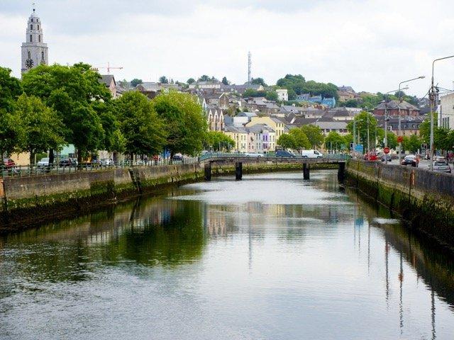 Cork City Lee River in Ireland in summer