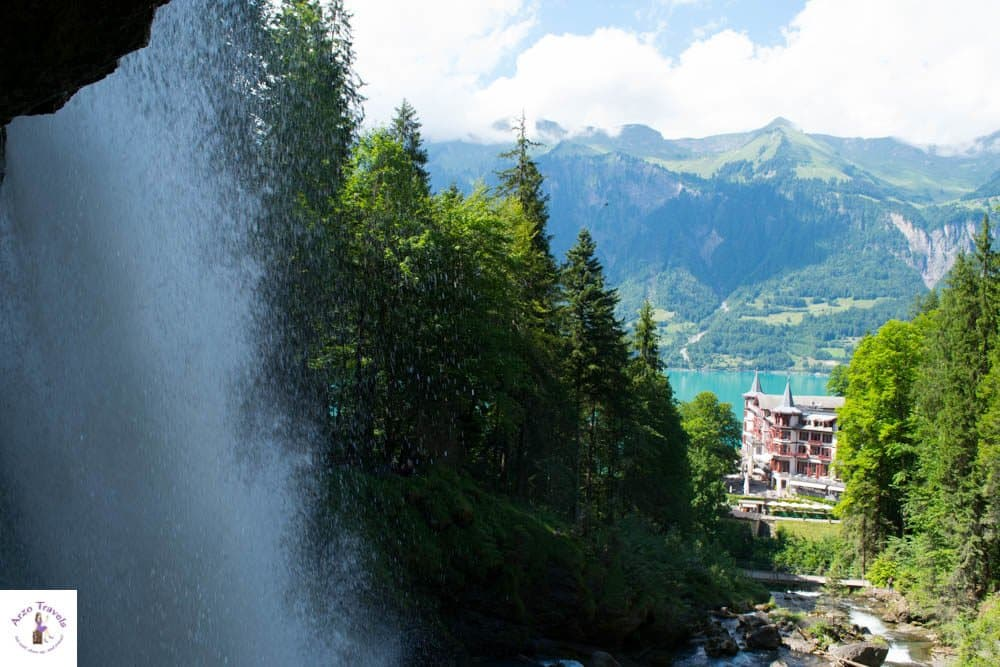 Giessbach waterfall - with a view of Grandhotel Giessbach