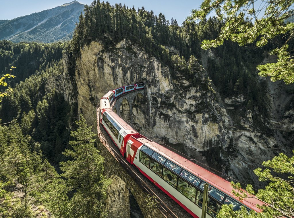 Glacier Express in Graubünden, Switzerland: Picture Credit: Swiss Travel Pass AG