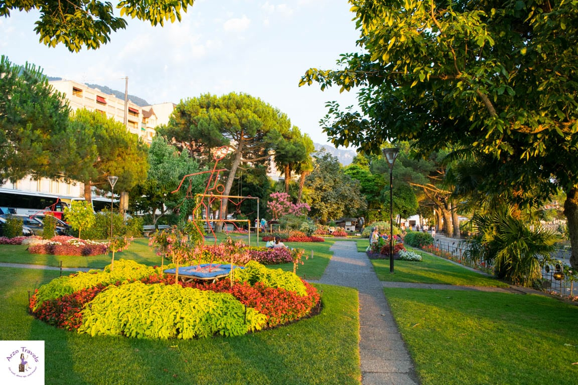 Parks along the promenade in Montreux