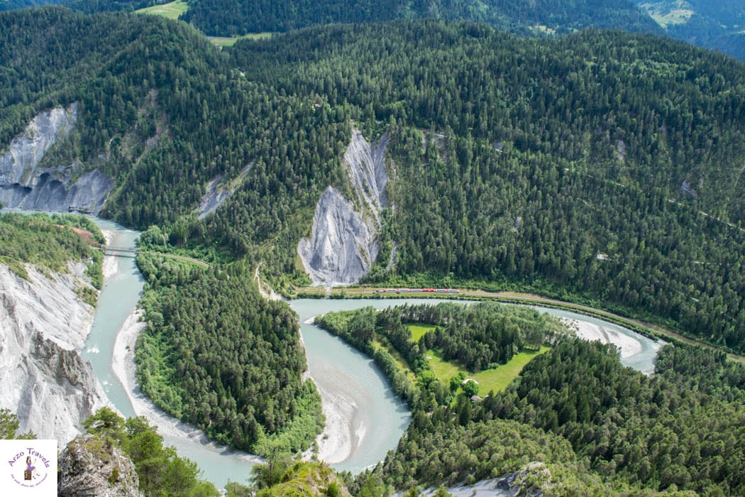 Rhine Gorge from above - Can you spot the train from there?