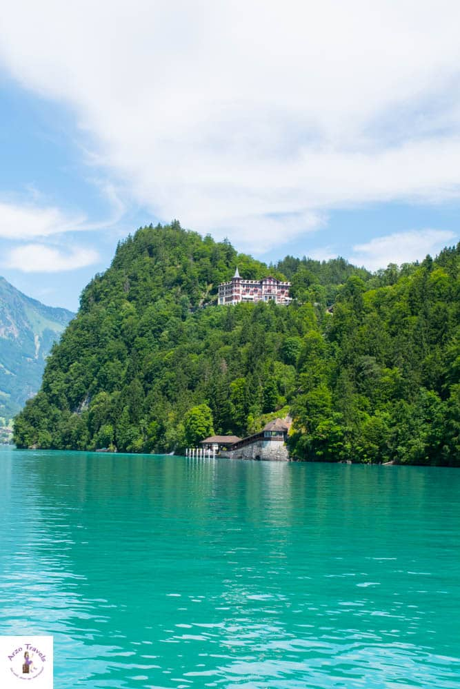 View from the boat - get to Grandhotel Giessbach by boat