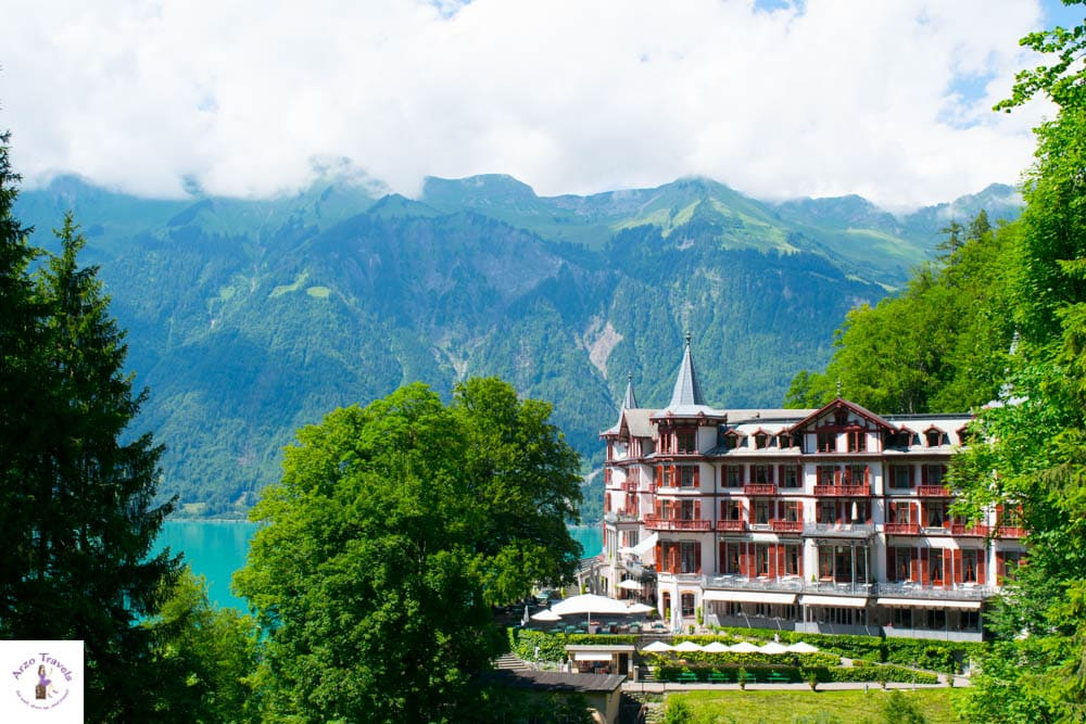 View of the hotel from the Giessbach Waterfalls