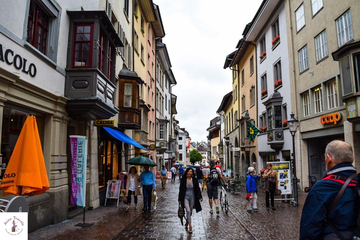 Schaffhausen Town Center on a Rainy Day