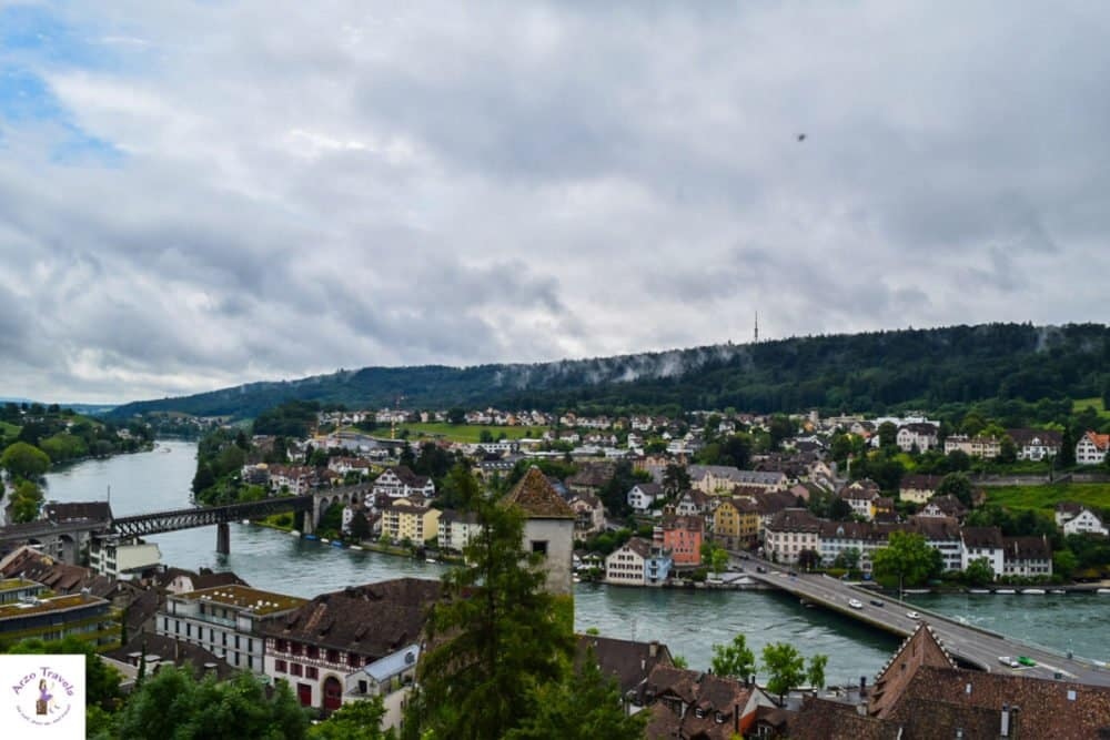 View from Munot over the Rhine river and parts of Schaffhausen