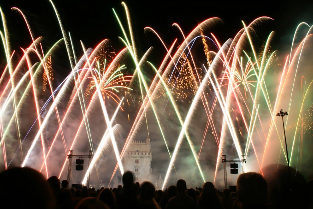 Lisbon Fireworks at New Years Eve / Near Belem Tower shutterstock_11297761