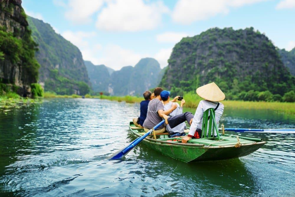 Boat tour along the Ngo Dong River, Ninh Binh, Vietnam @shutterstock