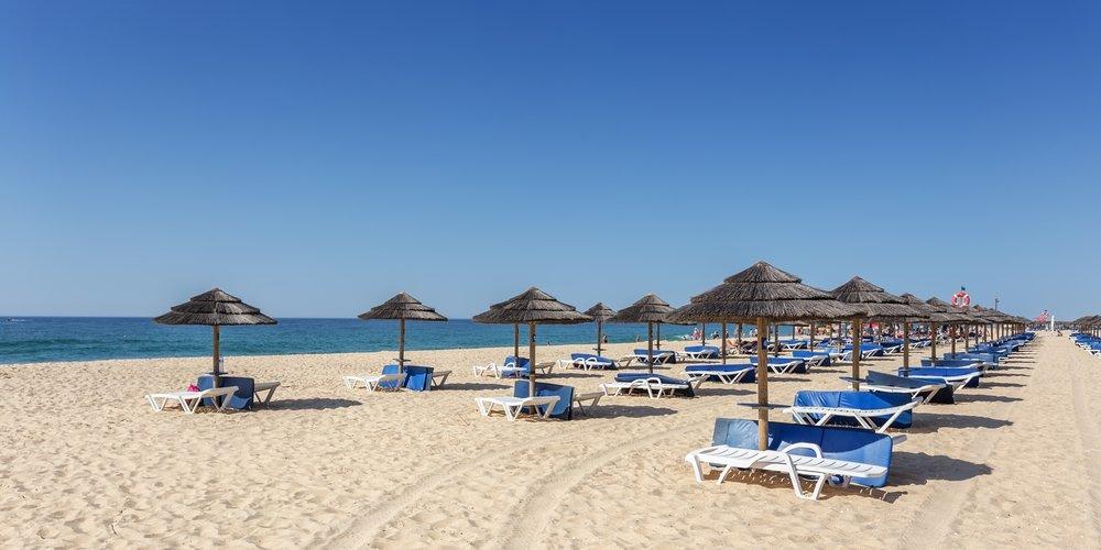 Portugal points of interest - Amazing beach on island of Tavira. Algarve Portugal