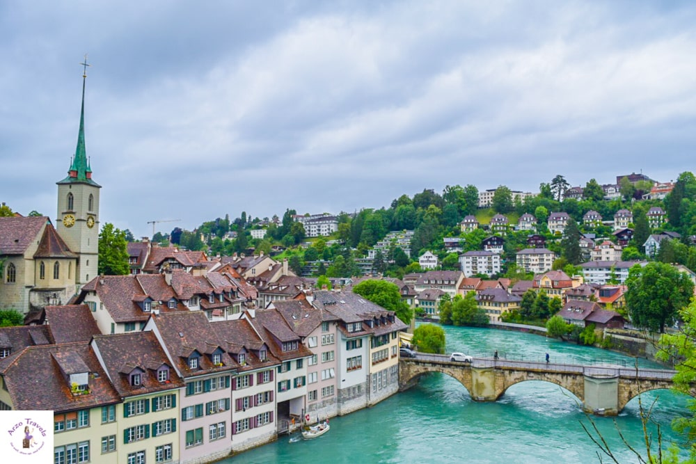 Best cities to visit in Switzerland Bern Aare river view in bern