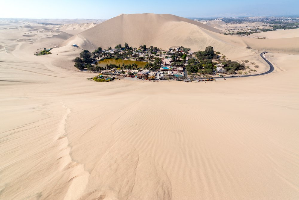 Peru attractions - Hucachina oasis and sand dunes near Ica, Peru