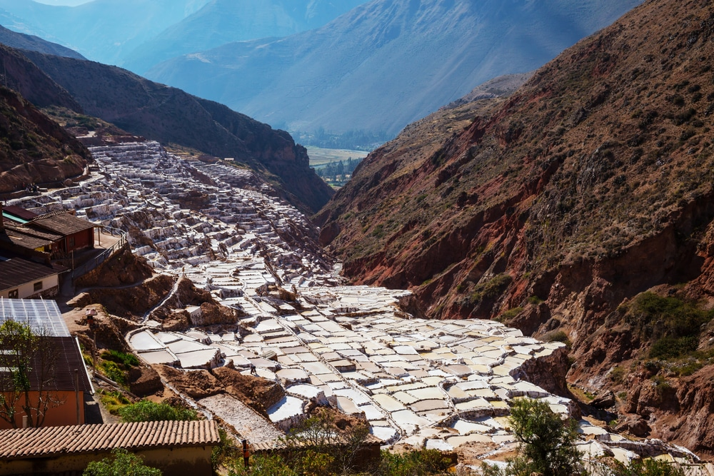 Attractions in Peru Maras salt ponds located at the Urubamba, Peru
