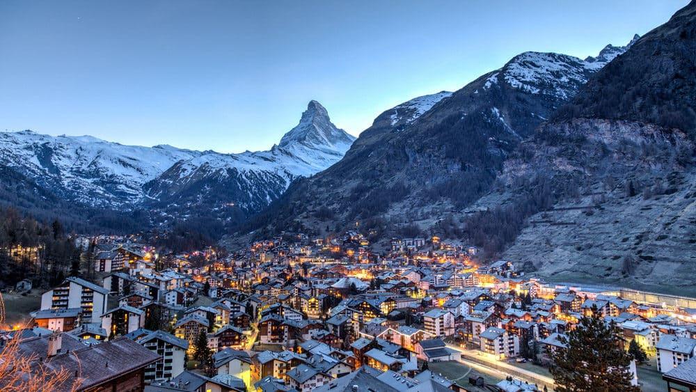 Matterhorn and Zermatt in the Swiss Alps best places to ski