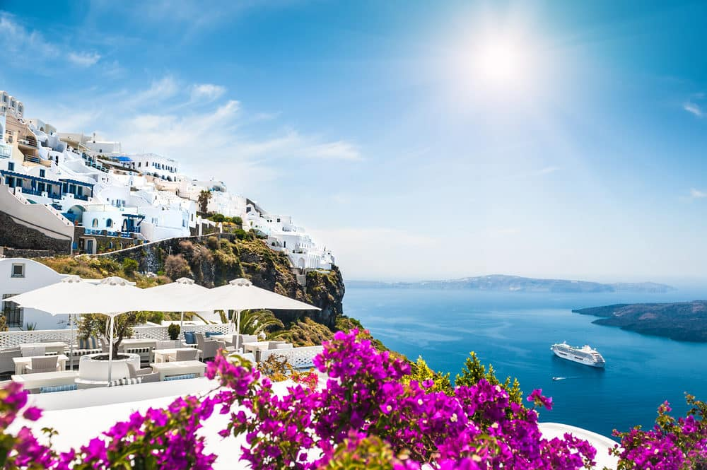 What to do in Greece Santorini island, Greece. Beautiful landscape with sea view
