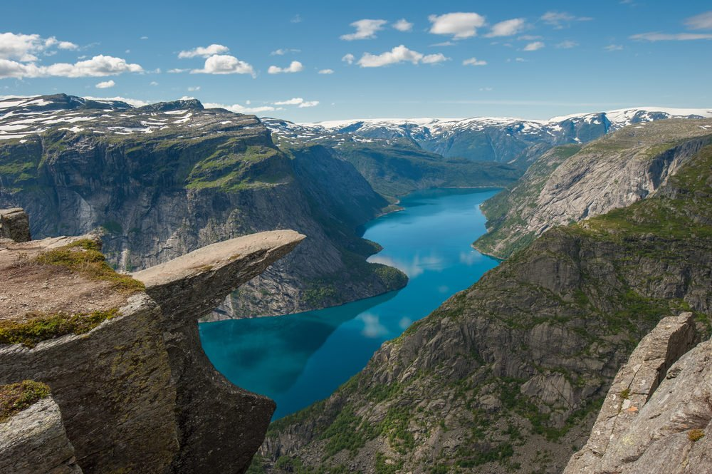 Best hike in Norway Trolltunga, Troll's tongue rock above lake Ringedalsvatnet, Norway