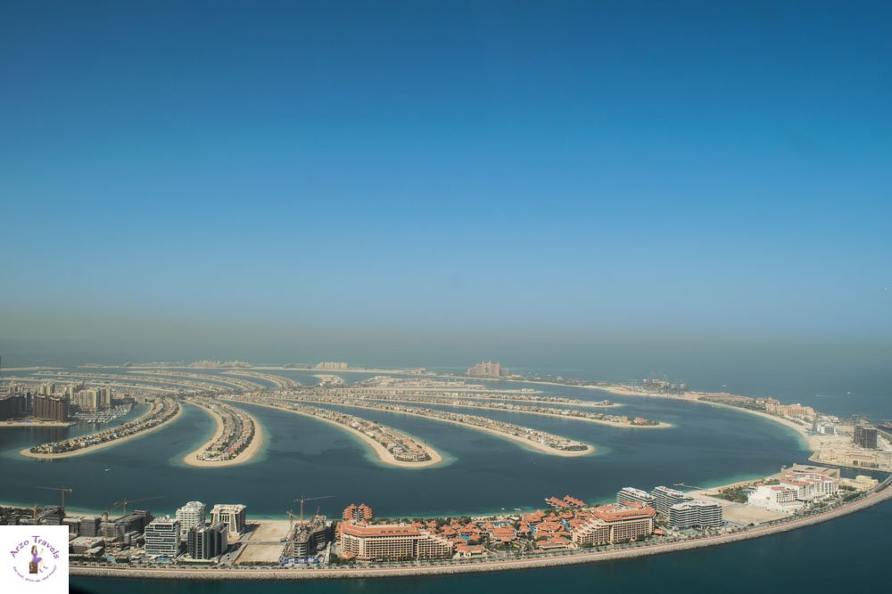 Arzo Travels Dubai Palm from above