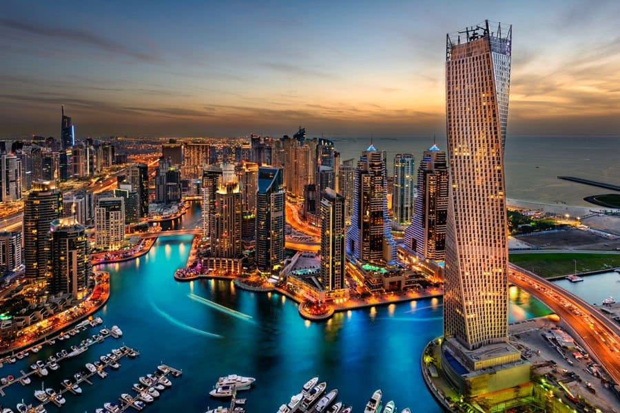 Dubai Marina at night - where to go in Dubai at night
