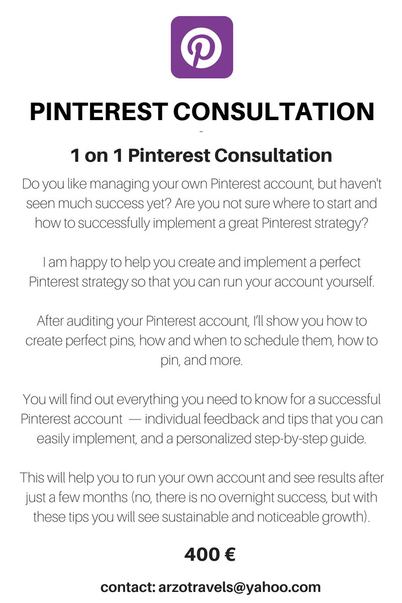 Pinterest Consultation 1 on 1 - an individual guide for your Pinterest success by Arzo Travels.