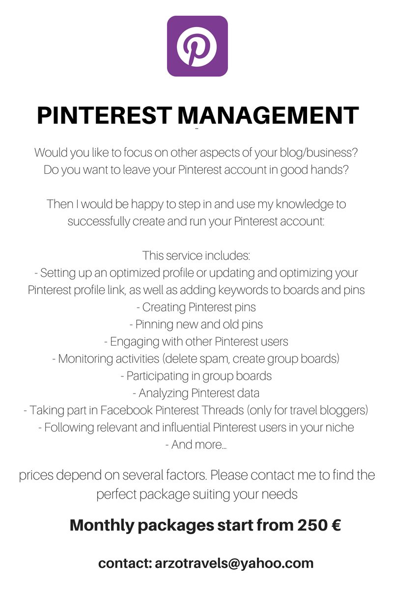 Pinterest Management for bloggers by Arzo Travels.