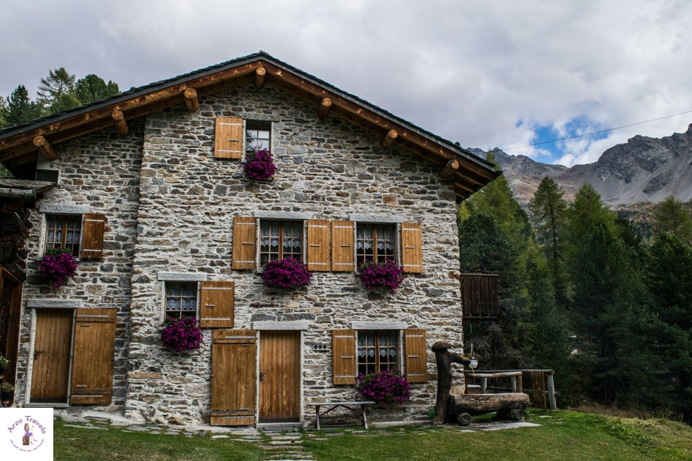 Beautiful stone houses in Alp Campo