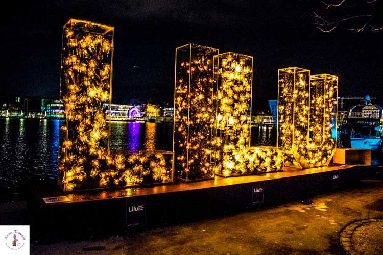 Lichtfestival in Lucerne in Switzerland in the winter