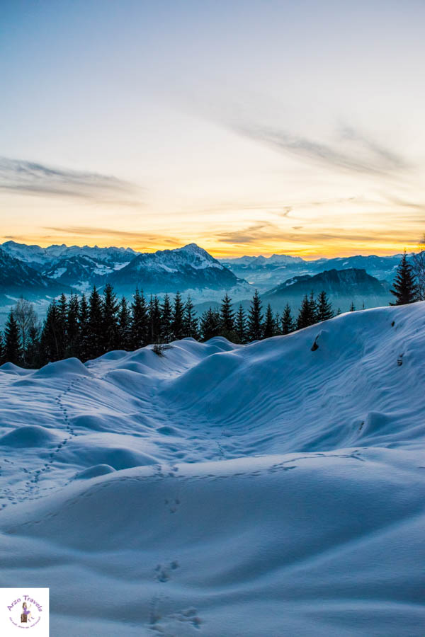 Mount Rigi sunset in Switzerland in the winter
