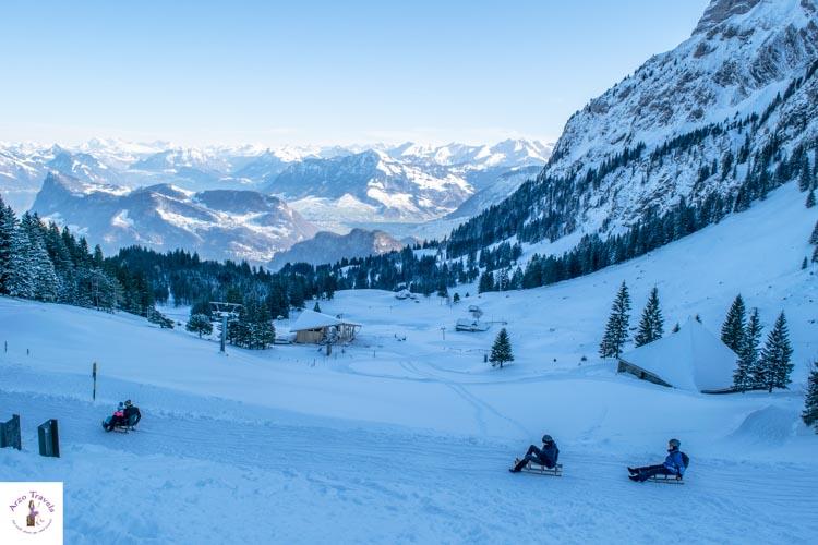 Sledding on Mount Pilatus in Switzerland in the winter