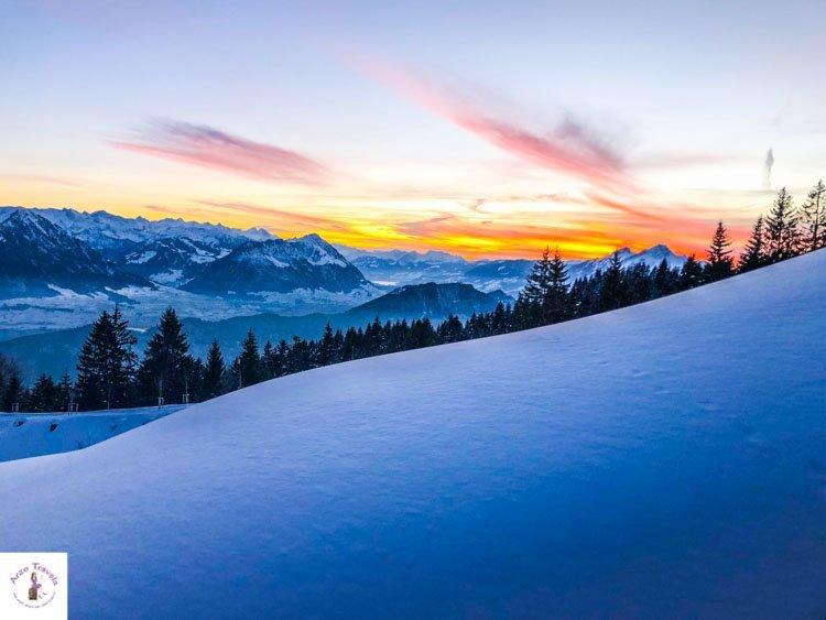 Switzerland in winter, best sunset Mount Rigi