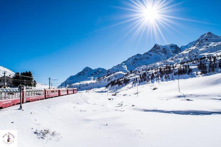 Train riding in Switzerland in the winter